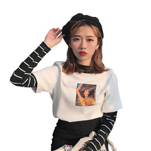 Women T-shirts Long Sleeve  Printed Turtleneck Striped Loose All-match Casual Top Tee embroidered striped sleeve tee