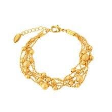 6 линейная цепочка с бусинами жёлтое золото женский браслет