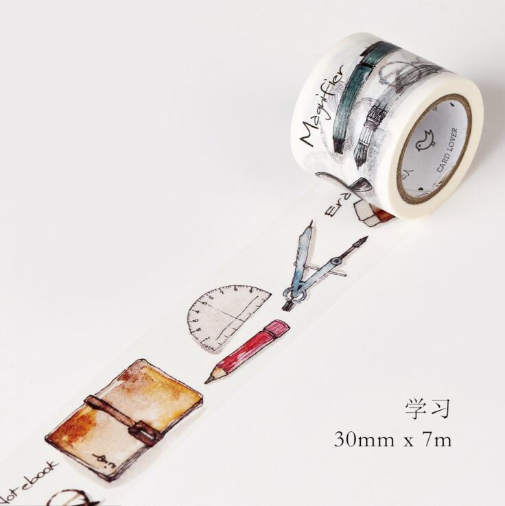 JG105  3CM Wide Daily Study Tools Washi Tape DIY Scrapbooking Sticker Label Masking Tape School Office Supply