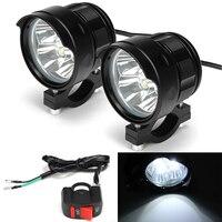 Motorcycle Pair LED HeadLights+Switch 12/24/36V Motorbike T6 LED Spot Driving Head light Fog Light Universal For 7/8'' handlebar