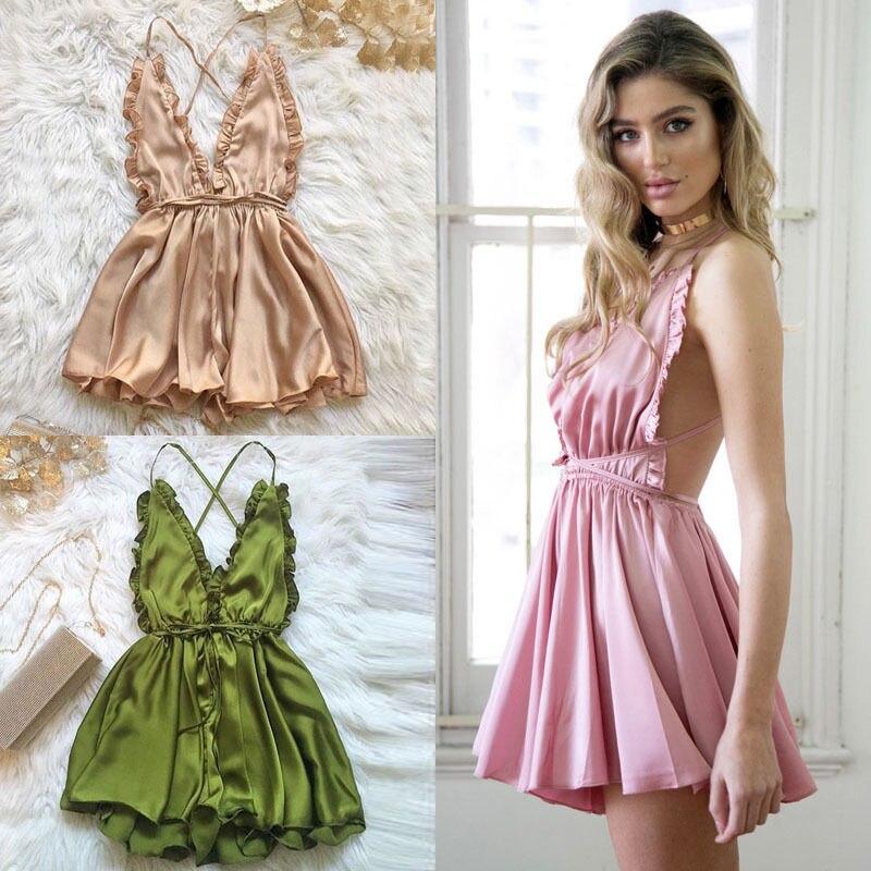 2018 New Fashion Women Sexy Sleepwear Style Rompers Deep V-neck Sexy Spaghetti Strap V-neck Mini 3 Color Women Nightgowns Attractive Designs; Women's Sleepwears Nightgowns & Sleepshirts