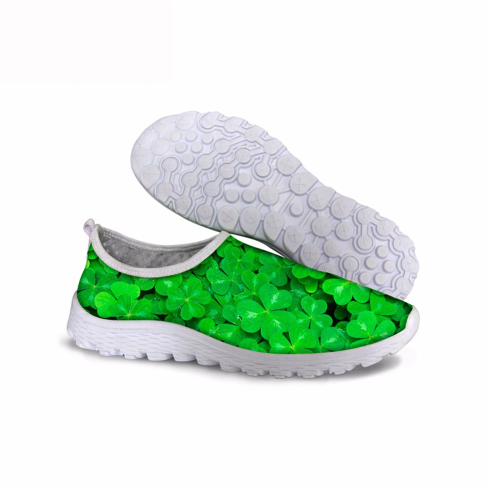 Noisydesigns Fresh Clover flowers strawberry spring shoes fashion 2018 women sneaker gym lady mesh air printed customized walk