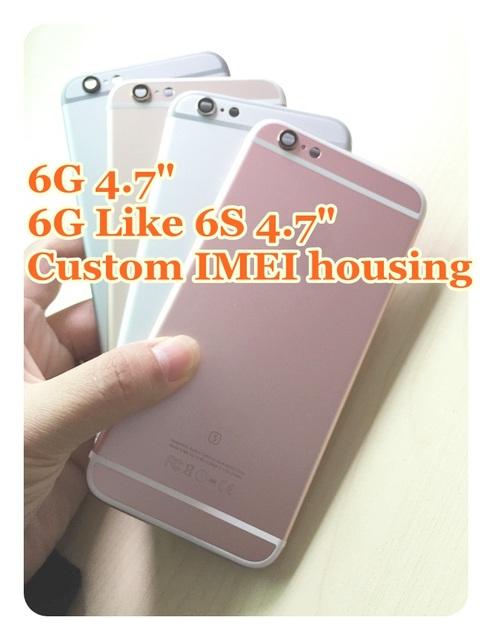 Imei personalizado completo chassis para iphone 6 iphone6 fundas de volta tampa da bateria porta habitação 6 6g Rosa de Ouro Como 6 s + rastreamento