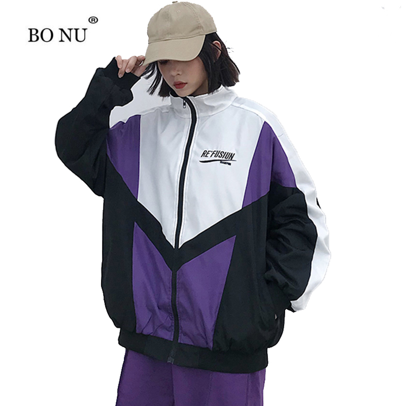 BONU Embroidery Streetwear Coat Big Size Hip Hop Jacket Unisex Loose Patch Designs Windbreaker Coat BF Harajuku Spliced Jacket