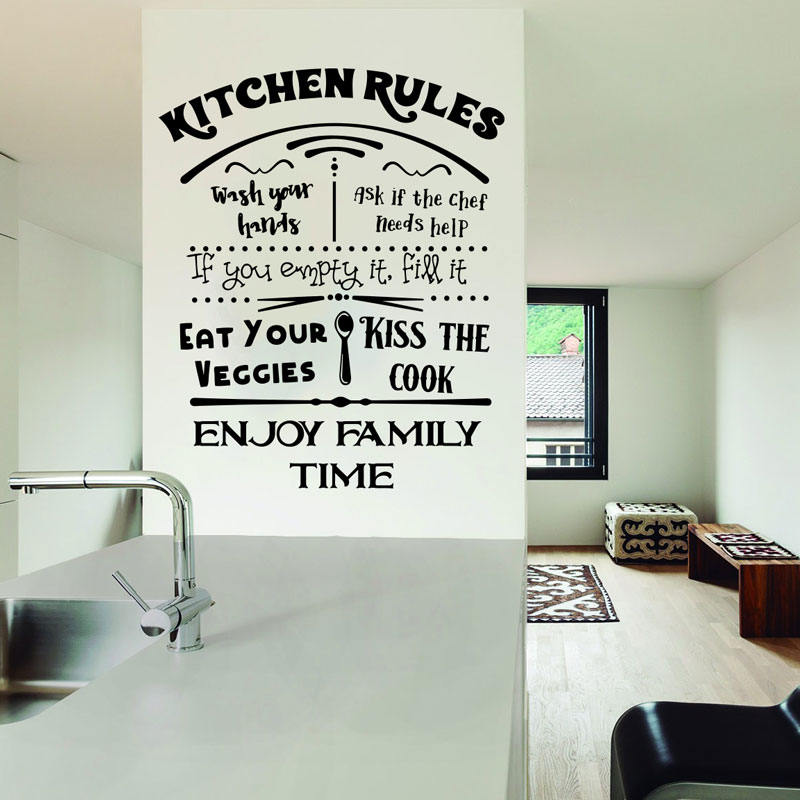 Us 7 12 25 Off Kitchen Rules Decal Dining Room Wall Sticker Sign My Wash Your Hands Kiss J937 In