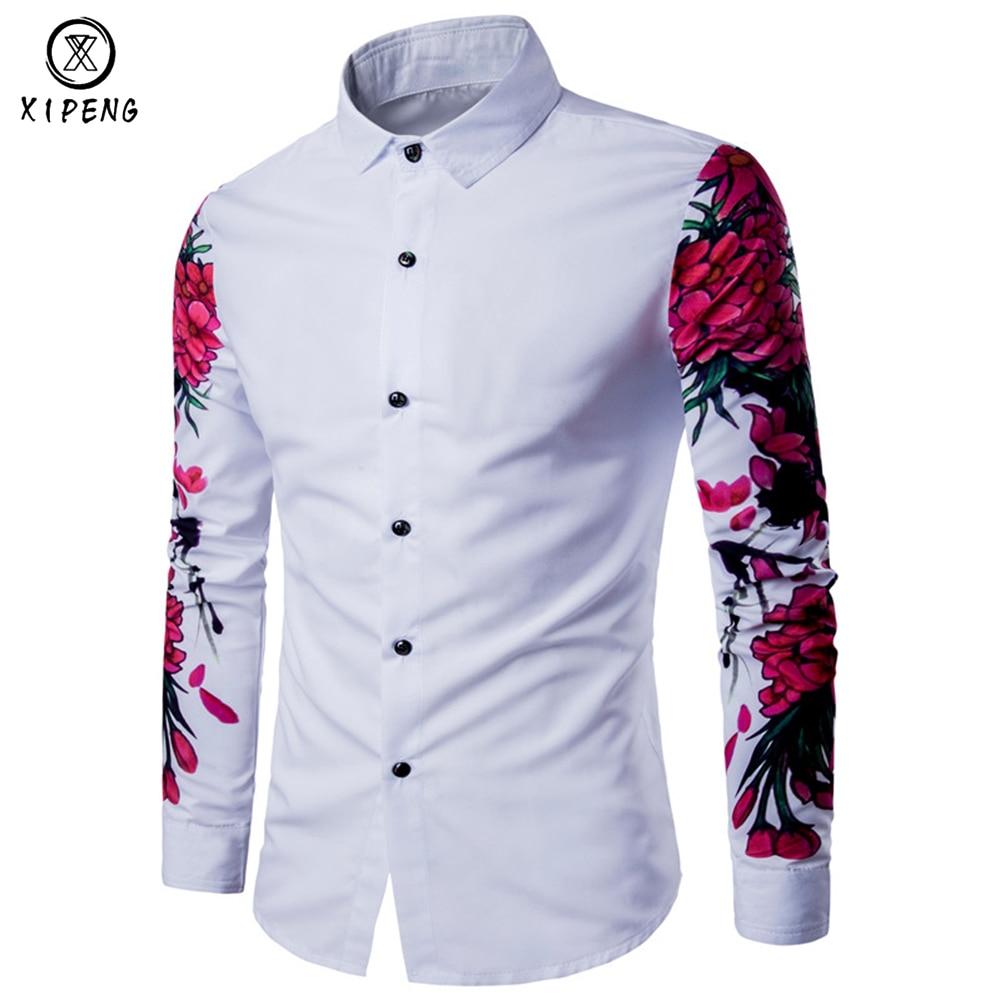 FreelyMen Long Sleeve Spring//Autumn Lapel Collar Floral Trim-Fit Longshirt