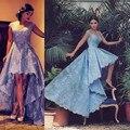 O Envio gratuito de Apliques Azuis Falta Alta Baixa Prom Vestidos Sem Mangas Princesa Curto vestido de Noite Vestidos de Festa Vestido Do Baile Única
