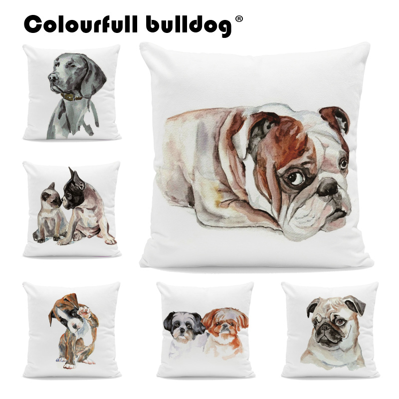 Watercolor Golden Retriever Throw Pillows Shih Tzu Pug French Bulldog Cushion Covers Great Dane 43*43 cm Couch Decor Pillowcases