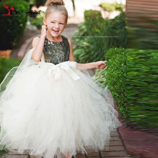 Camo Flower Girl Dresses Ball Gown Shape Tulle Bow Crew Neckline Floor Length Long Kids Formal Dress 2016 Winter Dress