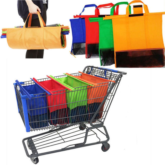 4pcs Set Car Shopping Cart Trolley Bags Foldable Reusable Grocery