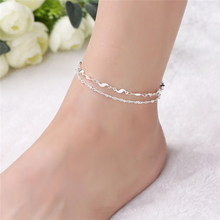 316a42cf8 Korea Brand Summer Jewelry 925 Silver Simple Shiny Wave Chain Anklets for  Women Girls Beach Party Foot Bracelets 2B157