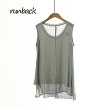 runback 2017 Summer Chinffon Knitting Vest Personality O-neck Long Camis Comfortable Large Size Loose Dill Top s Cropped