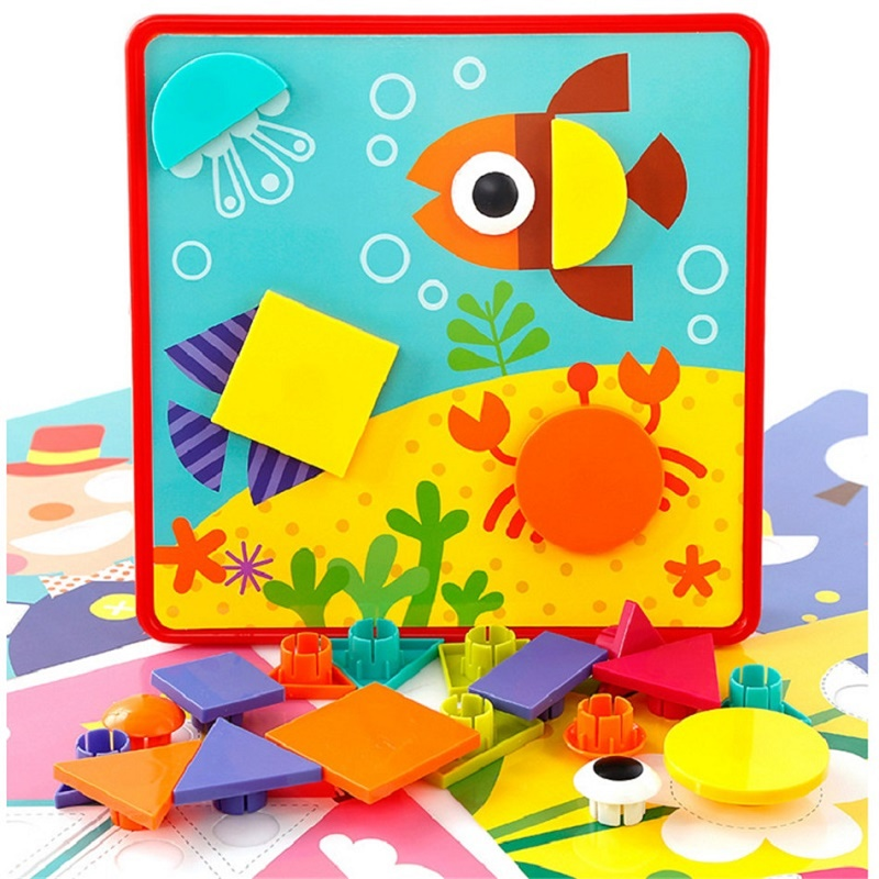 Montessori 10pcs / set Button Nail Puzzle Kids Toys For Children Boys - Teka-teki - Foto 2