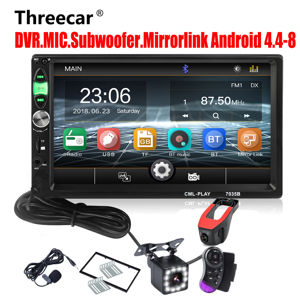 Mirror Link Android 8.0 Car radio 2din Support subwoofer Bluetooth handsfree USB DVR MIC Rearview Camera Radio Cassette Recorder
