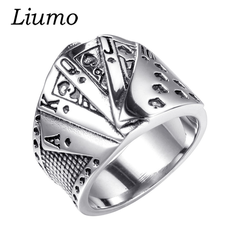 Liumo Vintage Punk Style Poker Straight Flush Hearts Men Stainless Steel Statement Gambler Biker Ring Lr703 punk style hollow out stainless steel crucifix ring for men