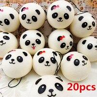 Mayitr 20pcs 4CM Cute Squishy Black White Panda Bread Phone Straps Soft Jumbo Chubby Panda Head