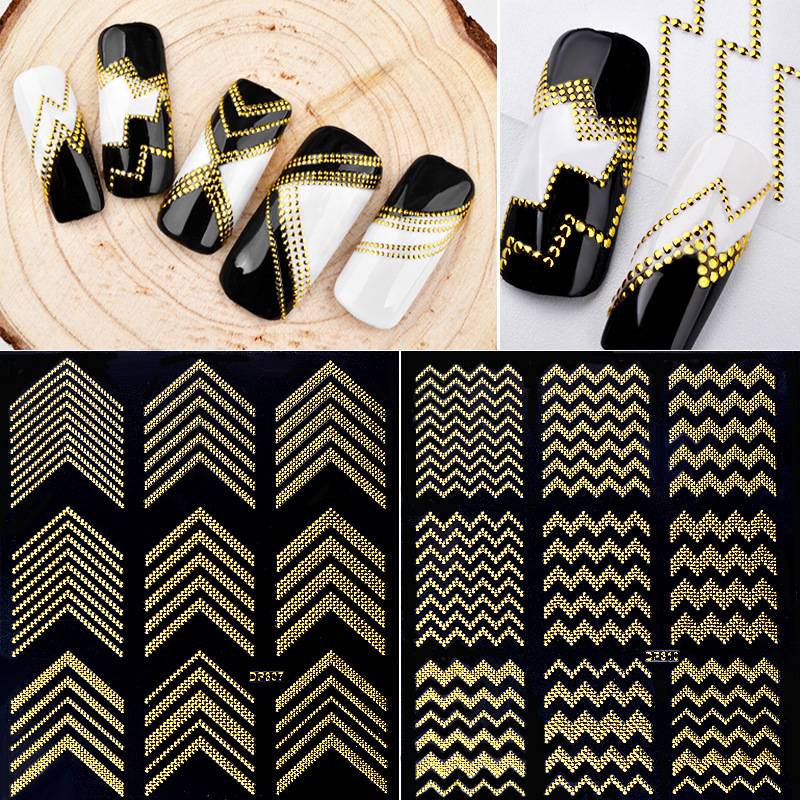 Gold Metal 3D Nail Stickers Stripes Wave Line DIY Nail Art Sticker Decorations Water Slide Nail Tips Stickers Cosmetic 32835 direct continental carved 3d nail stickers nail sticker nail art stickers 3d nail stickers xf711