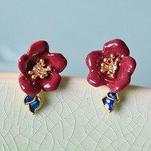 Франция Les Nereides Романтический Эмаль глазури Мода цветок сливы женщин Boucles D'oreilles стержня
