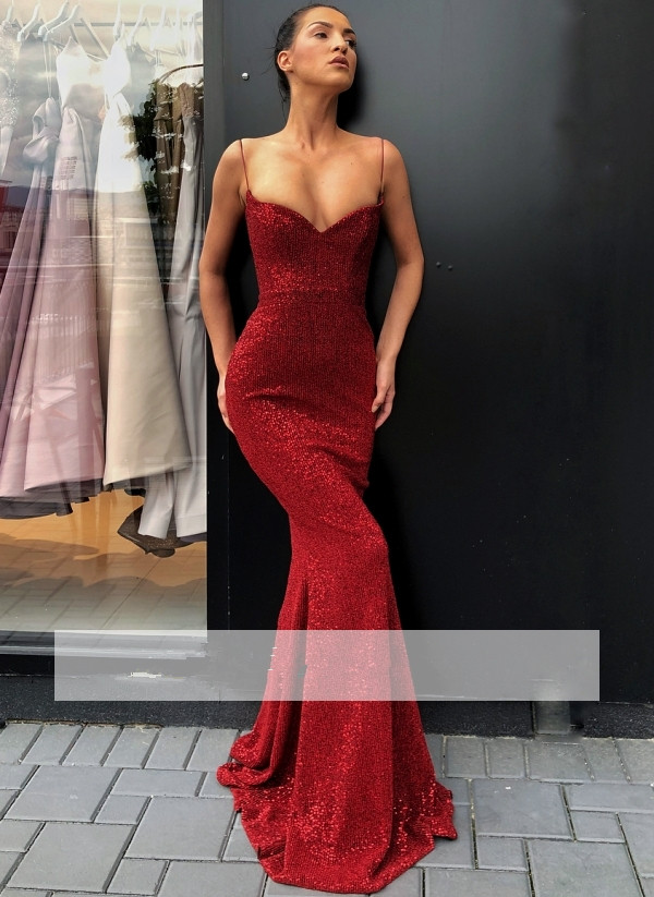 Red 2019   Prom     Dresses   Mermaid V-neck Sparkle Sequins Long Women   Prom   Gown Evening   Dresses   Evening Gown Robe De Soiree