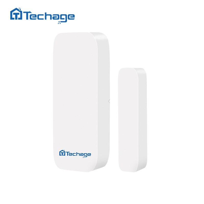 Techage TS-D028 433MHz Wireless Door Window Magnet Sensor Detector For S1/S6 Home Wireless Alarm System include the battery wireless door window vibration breakage detector shock sensor for home alarm system 433mhz