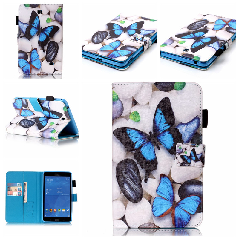 Fashion 6 Patterns for Samsung Galaxy Tab 4 7.0 T230 T231 T235 Leather Case Cover Stand for Galaxy T230 Tablet Cases