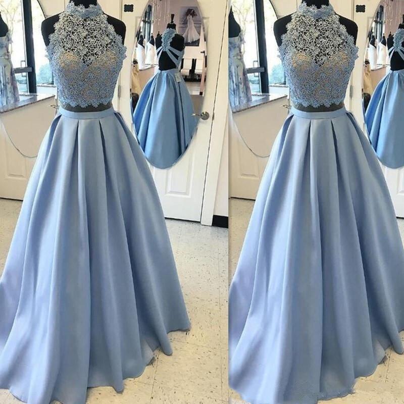 Light blue Two Pieces Halter   prom     dress   Sleeveless Elegant Pink Long evening gown 2019 Floor length Satin   prom     dress   Custom Made