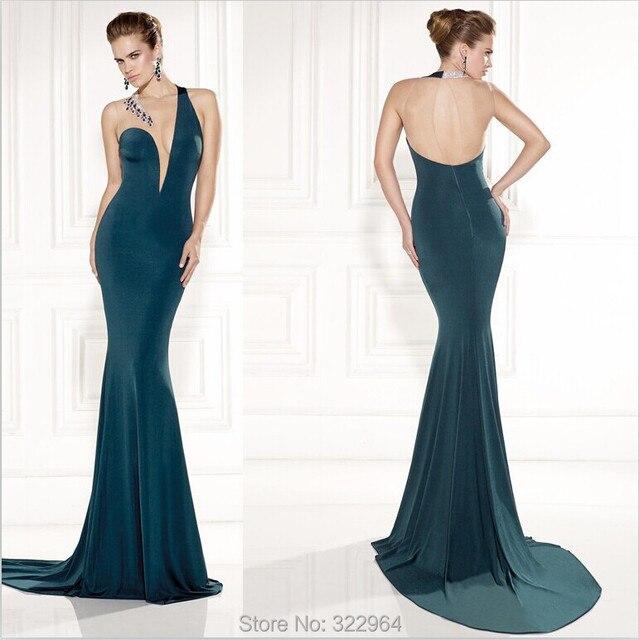 Dark Green Sheer O neck Tarik Ediz 2015 Mermaid Chiffon Long Beaded ...