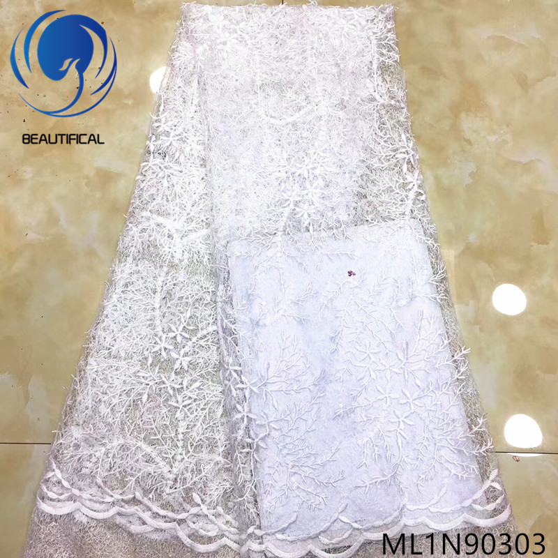 Beautifical nigerian fabrics white net lace fabric with sequins latest elegant nigerian lace bridal fabric for dress ML1N903
