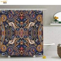 HUGSIDEA Waterproof Bath Shower Curtains Historical Moroccan Florets with Slavic Effects Heritage Design Bathroom Curtain Fabric