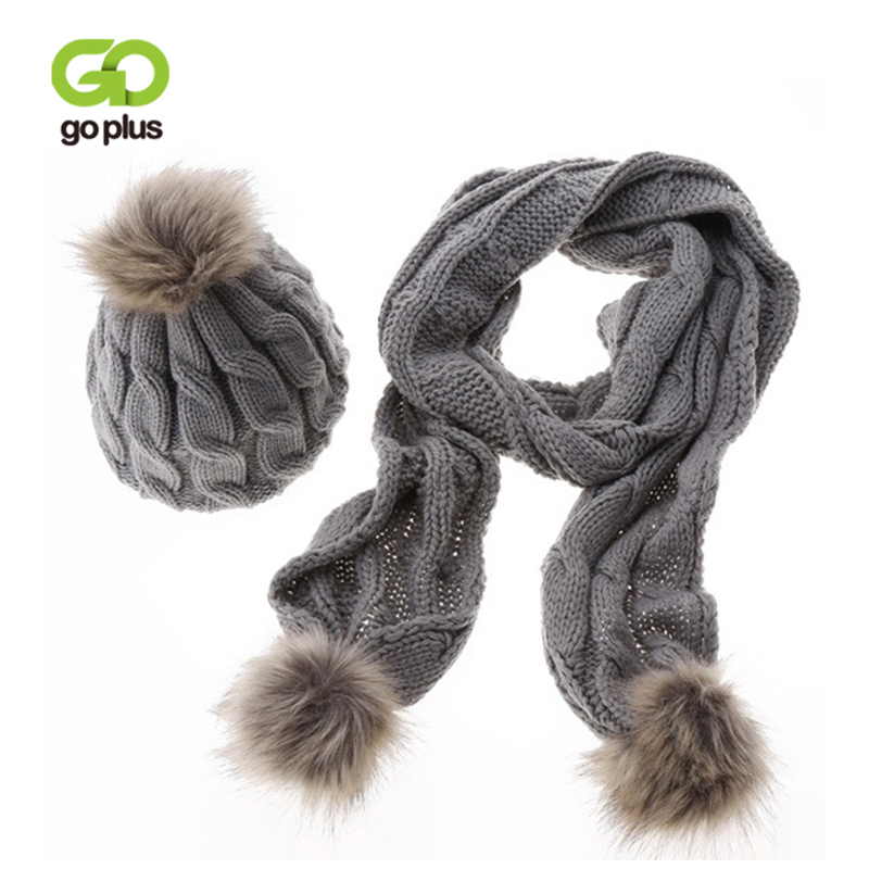 GOPLUS 2019 Winter Women Knitted Hat And Scarf Sets Fur Pompom Luxury Brand Hat Thick Warm Cashmere Beanies Scarves For Girls