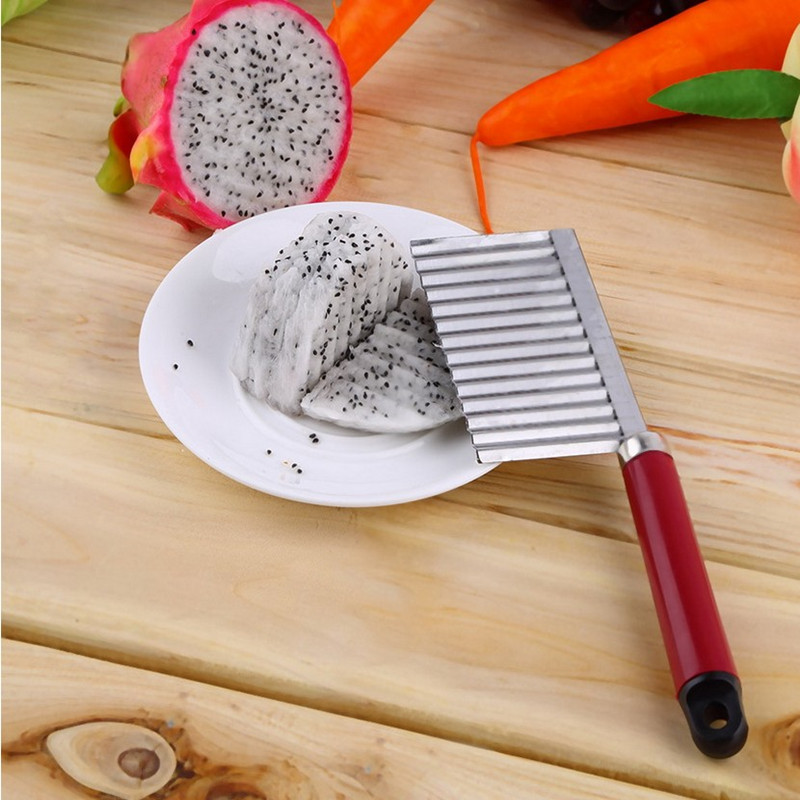 1 pc Wavy Edged Knife Stainless Steel Plastic Handle Kitchen Gadget Vegetable Fr