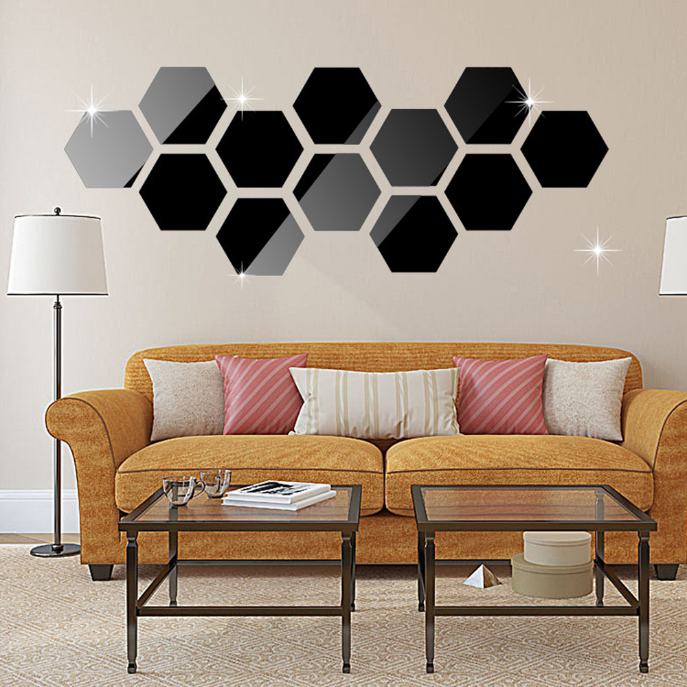 12 Pieces Hexagonal Wall Decoration Acrylic Mirror Sticker