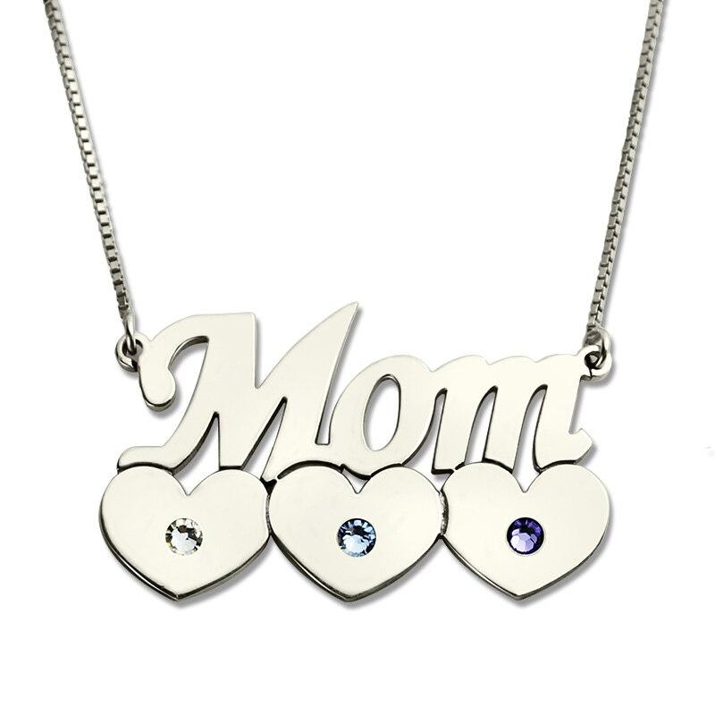 AILIN personnalisé mère enfant collier avec pierre de naissance argent famille coeur collier conception de la mère amour coeur bijoux