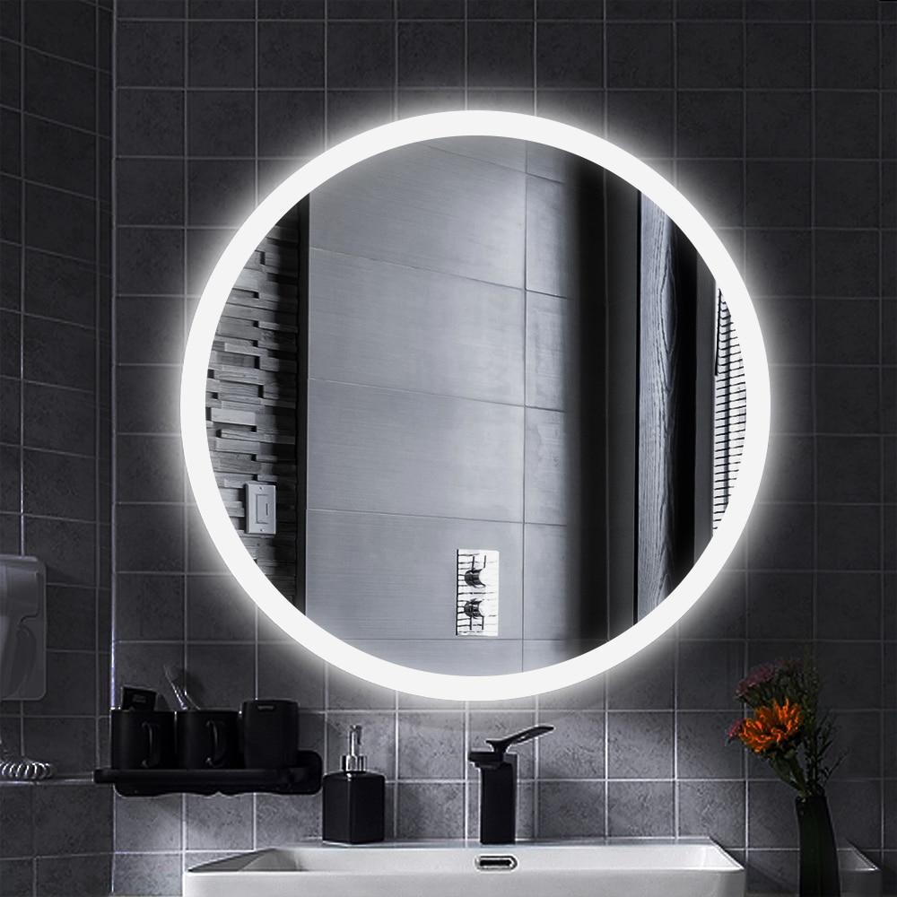 Anti-Fog LED Illuminated Mirror Round Makeup Bathroom Mirror Vanity Cosmetic Eye Protected Espejo Wall Mounted Lighted Mirror HW