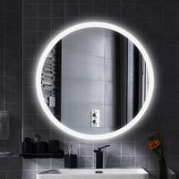 Anti Fog LED Illuminated Mirror Round Makeup Bathroom Mirror Vanity Cosmetic Eye Protected Espejo Wall Mounted Lighted Mirror HW