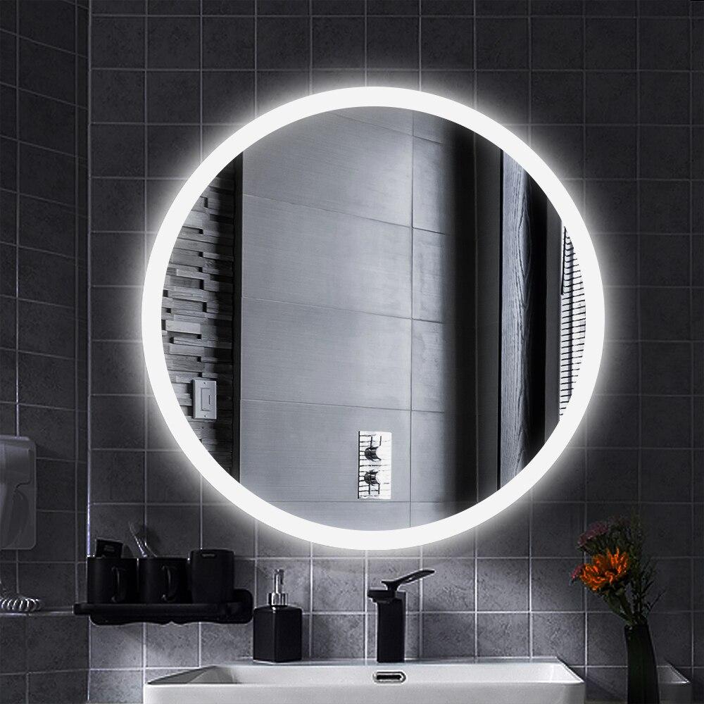 LED Illuminated Mirror Round Makeup Bathroom Mirror Vanity Cosmetic Eye Protected Espejo Wall Mounted Lighted Mirror HW