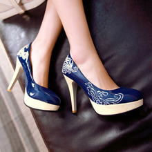 Ladies Casual Platform High Heels Shoes Fashion Patent Embroidery Thin Heels Women Pumps Size 33-48 Women Wedding Shoes Stiletto