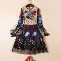 Новый Платья 2017 Высокая Qaulity Осенняя Мода Женщины С Длинным Рукавом Кружева Цветок Звезда Вышивка Черный Сладкий Блестками Mini Dress