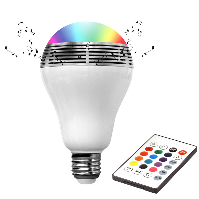 New Smart wireless Colorful light With loudspeaker E27 led lamp Bluetooth Phone APP Control Music Speaker Bulb Dimmable lampada lightme smart e27 light bulb intelligent colorful led lamp bluetooth 3 0 speaker for home stage energy saving led light bulbs