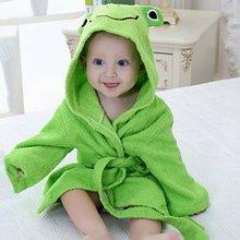 Фотография Baby Cotton Robes Bathrobe Towel Boys Girls Cartoon Sleepwear Long Sleeve Hooded