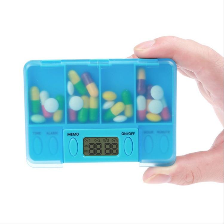 4 Grid Intelligent Timer Reminder Pills Box Organizer Storage Pill Case @88 Dropshipping