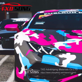 цена на New arrival Car Styling Bright Color Camouflage vinyl Camo sticker For car wrapping Camo Vinyl film with air free bubbles
