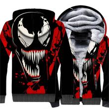 Brand Clothing Zipper Fleece 3D Hoodie 2019 Winter Autumn Thick Warm Jacket Spider Man Super Hero Sweatshirts VENOM Mens