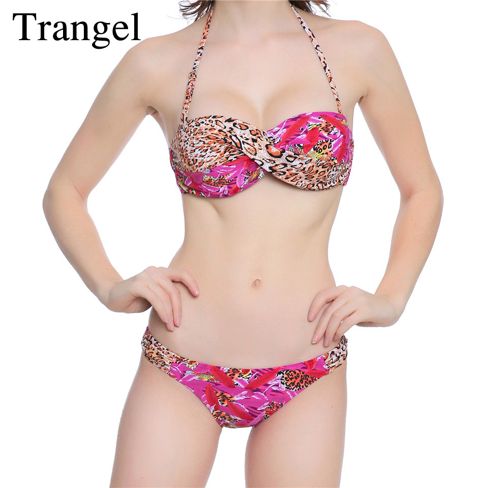 Trangel bikini sexy women swimsuit push up print bikini set bandeau swimwear summer beach bathing suit swimming