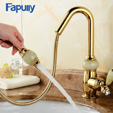 Fapully Gold Bathroom Faucet Single Handle Basin Pull Out Sink Faucets Water Mixer Tap Double Color Jade Handle Deck Mounted free shipping single handle rose gold bathroom faucet with deck mounted space aluminium kitchen sink water faucets