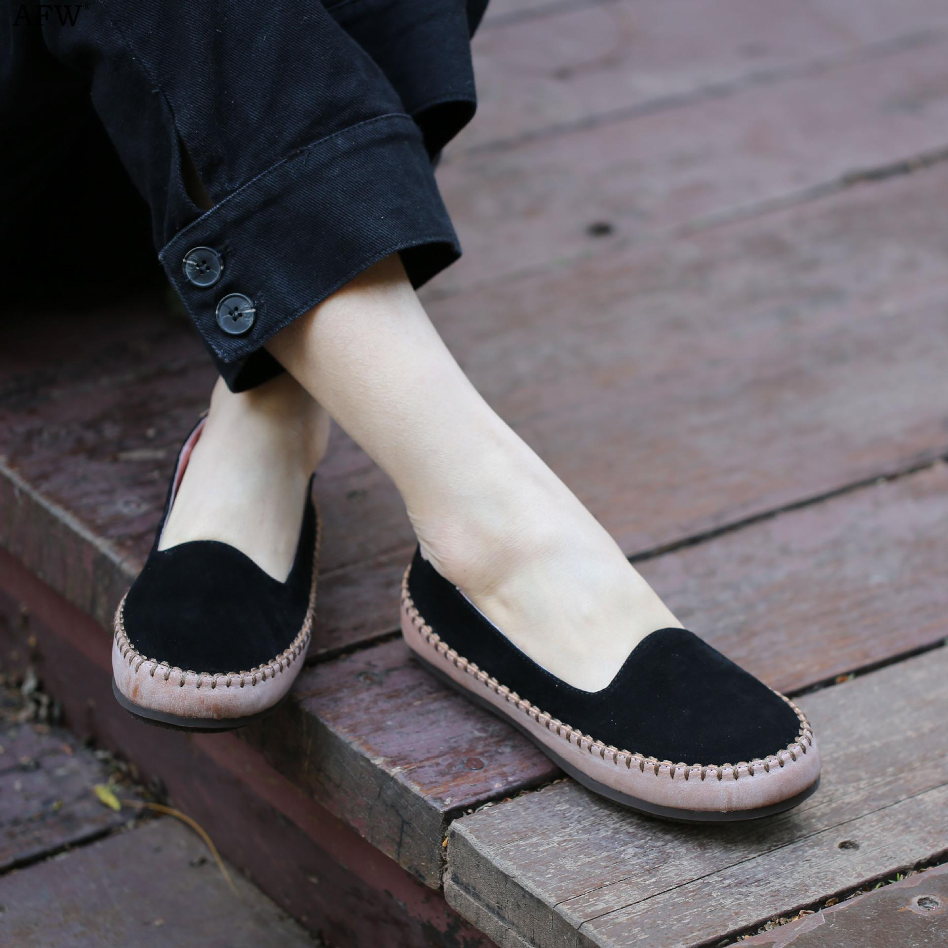 AFW Women Leather Loafers Black Low Heel Spring Shoes 2018 Soft Genuine Leather Women Flats Slip On Handmade Retro Women Shoes cresfimix zapatos women cute flat shoes lady spring and summer pu leather flats female casual soft comfortable slip on shoes