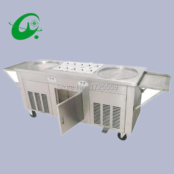 45cm double pan fried ice cream roll machine 2800W 2 Round Pan Fried Ice Cream Roll Machine With 10 Cooling Storage Barrel shentop stfx cb25 double pan ice cream rolls machines new style fried roll ice cream machine