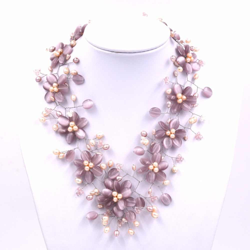 Naturalna perła słodkowodna i fioletowy kocie oko kamień kwiat chokers naszyjnik
