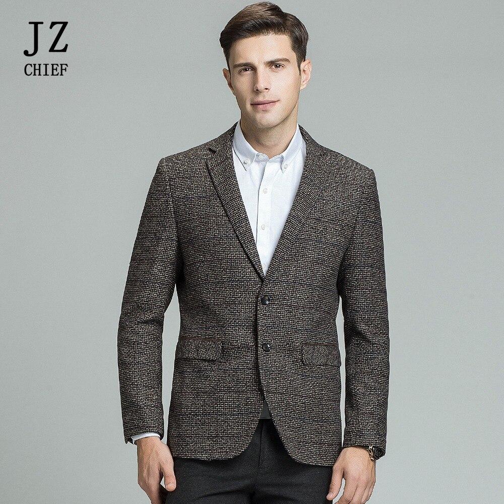 JZ CAPO degli uomini di Lana Blazer A Righe Giacca Gomito Patch di Giacca Sportiva di Alta Qualità Tweed Giacche Cappotto di Business Casual Soprabito Plus formato