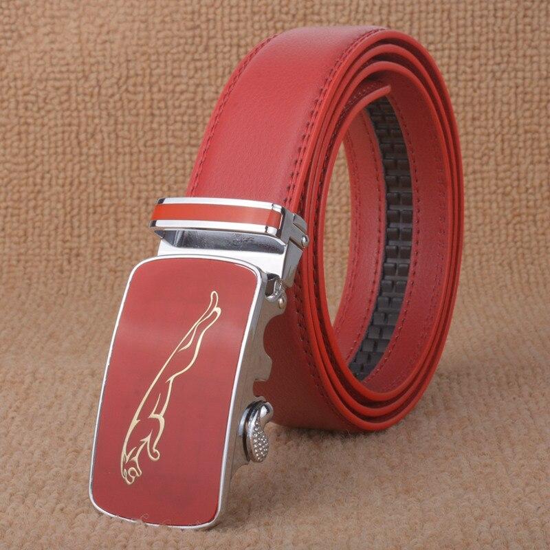 Высококачественный мужской кожаный ремень мужской повседневный модный ремень роскошный чисто кожаный ремень Пояс - Цвет: red    JB